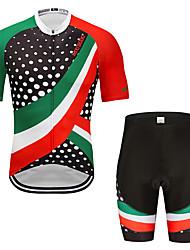 お買い得  -MUBODO 男性用 半袖 ショーツ付きサイクリングジャージー 緑 / ブラック バイク スーツウェア 高通気性 速乾性 反射性ストリップ スポーツ メッシュ マウンテンサイクリング ロードバイク 衣類 / 伸縮性あり