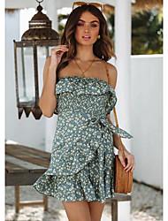 levne -Dámské Elegantní A Line Šaty - Květinový, Tisk Mini