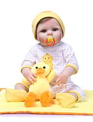 Недорогие -NPKCOLLECTION Куклы реборн Девочки 24 дюймовый Полный силикон для тела Винил - Подарок Ручная работа Искусственные имплантации Голубые глаза Детские Девочки Игрушки Подарок