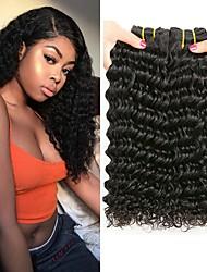 tanie -4 zestawy Włosy peruwiańskie Deep Wave Włosy virgin Nieprzetworzone włosy naturalne Fale w naturalnym kolorze Doczepy Pakiet włosów 8-28 in Kolor naturalny Ludzkie włosy wyplata Miękka Najwyższa