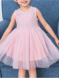 hesapli -Toddler Genç Kız Solid Diz-boyu Elbise Beyaz