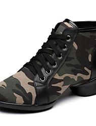 olcso -Női Tánccipők Bőr Csizmák Vastag sarok Dance Shoes Katonai zöld
