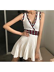 abordables -Femme Mini Trapèze Robe Blanc Taille unique Sans Manches
