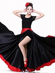 levne -Latinské tance Spodní část oděvu / Flamenco Dámské Výkon Matný satén Háčky a očka Přírodní Sukně