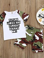 hesapli -Bebek Genç Erkek Temel Desen Desen Kolsuz Normal Pamuklu / Polyester Kıyafet Seti Beyaz