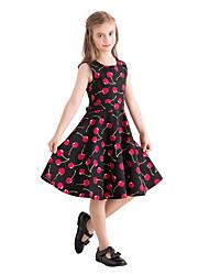 hesapli -Çocuklar Genç Kız Vintage / sevimli Stil Meyve Desen Kolsuz Diz-boyu Pamuklu Elbise Siyah
