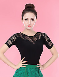 cheap -Ballroom Dance Tops Women's Performance Ice Silk Lace / Ruching Short Sleeve Top