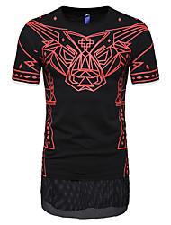 billige -Herre - Geometrisk / Dyr Trykt mønster T-shirt Hvid XL