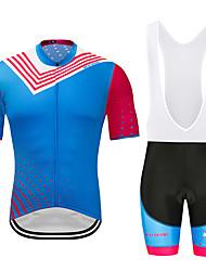 お買い得  -MUBODO 男性用 半袖 ビブショーツ付きサイクリングジャージー スカイブルー バイク スーツウェア 高通気性 速乾性 反射性ストリップ スポーツ メッシュ マウンテンサイクリング ロードバイク 衣類 / 伸縮性あり