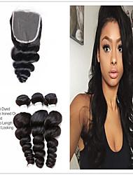 levne -3 balíčky s uzavřením Brazilské vlasy Volné vlny 100% Remy vlasy Weave svazky Lidské vlasy Vazby Bundle Hair Jeden balíček Solution 8-20 inch Přírodní barva Lidské vlasy Vazby sexy Lady Nov