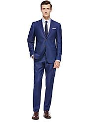 preiswerte -Schwarz / Dunkelmarine / Colored Gray Solide Reguläre Passform Wollmischung Anzug - Fallendes Revers Einreiher - 2 Knöpfe