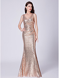 435879b12e cheap -Mermaid / Trumpet V Neck Floor Length Sequined Bridesmaid Dress with  Sequin by LAN
