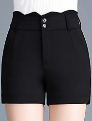 baratos -Mulheres Básico Shorts Calças - Sólido Preto