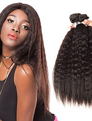 cheap -4 Bundles Brazilian Hair kinky Straight Unprocessed Human Hair Natural Color Hair Weaves / Hair Bulk Bundle Hair Human Hair Extensions 8-28inch Natural Color Human Hair Weaves Odor Free Dancing Best