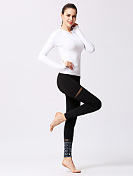 voordelige -Dames Patchwork Yoga pak Zwart Zwart / Wit Hemelsblauw + wit Sport 3D Print Sportoutfits Yoga Gym training Lange mouw Sportkleding Lichtgewicht Ademend Sneldrogend Zweetafvoerend Rekbaar