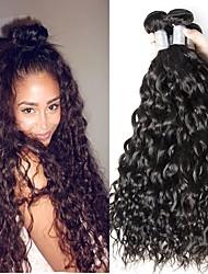 Недорогие -6 Связок Бразильские волосы Волнистые Не подвергавшиеся окрашиванию человеческие волосы Remy Человека ткет Волосы Пучок волос One Pack Solution 8-28 дюймовый Естественный цвет Ткет человеческих волос