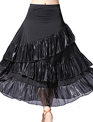 cheap -Ballroom Dance Bottoms Women's Training / Performance Ice Silk Cascading Ruffles / Gore Natural Skirts