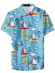 お買い得  -男性用 シャツ 幾何学模様 ネイビーブルー XL