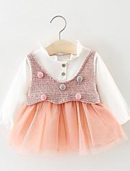 お買い得  -幼児 女の子 甘い / かわいいスタイル ソリッド メッシュ 長袖 膝丈 コットン ドレス ブルー