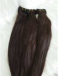"""זול -שיער קלוע ישר הארכה שיער אנושי חלק 1 שיער צמות חום כהה 18"""" (46 ס""""מ) נשים / extention / עבה ליציאה / יום יומי\קז'ואל שיער ברזיאלי"""