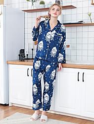 billige -Dame Skjortekrage Dress Pyjamas - Fargeblokk