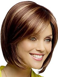 cheap -Synthetic Wig / Bangs kinky Straight Style Side Part Capless Wig Golden Blonde / Purple Synthetic Hair 12 inch Women's Fashionable Design / Smooth / Classic Golden Wig Short Natural Wigs