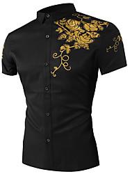 billige -Herre - Blomstret Trykt mønster Skjorte Sort XL
