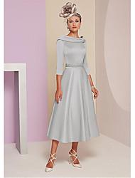 رخيصةأون -A-الخط باتو، نيك طول الساق ساتان فستان أم العروس مع حصى / طيات بواسطة LAN TING BRIDE®