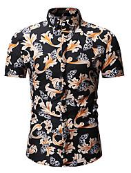 billige -Herre - Blomstret Skjorte Blå XL