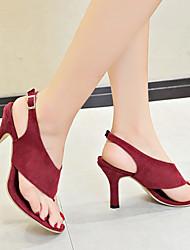 povoljno -Žene Brušena koža Ljeto minimalizam Sandale Stiletto potpetica Okrugli Toe Kopča Crn / Lila-roza