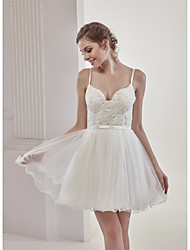 cheap -A-Line Sweetheart Neckline Short / Mini Lace / Tulle Made-To-Measure Wedding Dresses with Beading / Appliques / Lace by ANGELAG