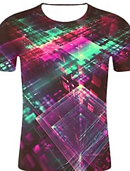 お買い得  -男性用 プリント Tシャツ ロック / 誇張された 3D / 虹色 / グラフィック ワイン XXL