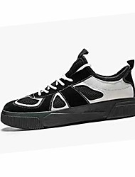 halpa -Miesten Comfort-kengät Silmukka / PU Kesä Vapaa-aika Lenkkitossut Non-liukastumisen Color Block Musta / Harmaa