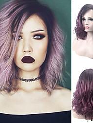 halpa -Synteettiset peruukit Kihara Tyyli Sivuosa Suojuksettomat Peruukki Violetti Musta / Purppura Synteettiset hiukset 18 inch Naisten Muodikas malli / Party / Naisten Violetti Peruukki Pitkä