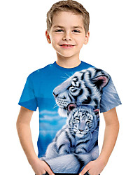cheap -Kids / Toddler Boys' Active / Basic Print Print Short Sleeve Polyester / Spandex Tee Light Blue