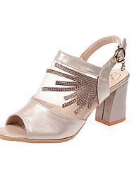 hesapli -Kadın's Ayakkabı PU Yaz Günlük Sandaletler Kalın Topuk Günlük için Taşlı Altın / Siyah