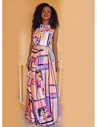 お買い得  -女性用 ベーシック タンクトップ 幾何学模様 スカート