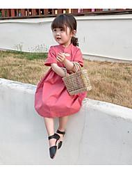 abordables -Bébé Fille Actif / Chinoiserie Couleur Pleine Manches Courtes Au dessus du genou Coton Robe Rose Claire