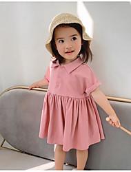 abordables -Bébé Fille Actif / Doux Couleur Pleine Manches Courtes Au dessus du genou Coton Robe Blanc
