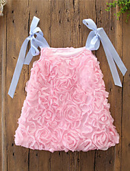 abordables -bébé Fille Actif / Chic de Rue Fleur / Mosaïque Lacet Sans Manches Coton Robe Blanc / Bébé
