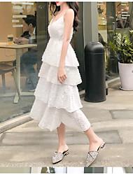 abordables -Femme Midi Mousseline de Soie Robe Blanc Noir M L XL Sans Manches