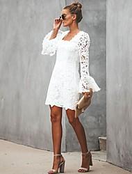 preiswerte -Frauen über dem Knie dünne Hülle, figurbetontes Kleid mit quadratischem Ausschnitt Spitze weiß m l xl