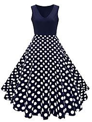 Недорогие -Жен. Большие размеры Винтаж 1950-е года Хлопок А-силуэт Платье - Горошек Цветочный принт, С принтом V-образный вырез Средней длины