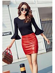 Недорогие -Жен. Уличный стиль Полиуретановая Мини Облегающий силуэт Подол Однотонный Черный Красный Пурпурный M L XL / Тонкие