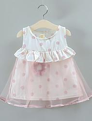 abordables -bébé Garçon Actif / Basique Mosaïque Dos Nu / Mosaïque Sans Manches Maxi Coton Robe Rose Claire