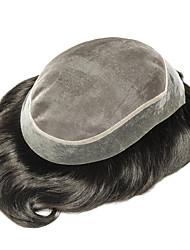 ieftine -Bărbați Păr Natural Peruci Drept O noua sosire / cald Vânzare / Colorare / Negru