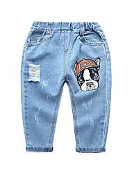 abordables -Enfants Garçon Basique / Chic de Rue Imprimé Troué / Déchiré Coton Jeans Bleu clair
