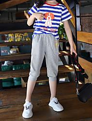 abordables -Enfants Fille Actif / Chic de Rue Rayé / Bande dessinée Imprimé Manches Courtes Normal Normal Coton / Spandex Ensemble de Vêtements Bleu