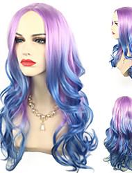 halpa -Synteettiset peruukit Kihara Tyyli Keskiosa Suojuksettomat Peruukki Sininen Sininen Synteettiset hiukset 24 inch Naisten Köysi / Party / Naisten Sininen Peruukki Pitkä Cosplay-peruukki