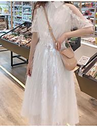 halpa -naisten midi sifonki mekko paita kaulus sifonki valkoinen beige s m